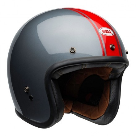 Bell Custom 500 DLX vintage jet helmet - Rally Gloss Gray/Red
