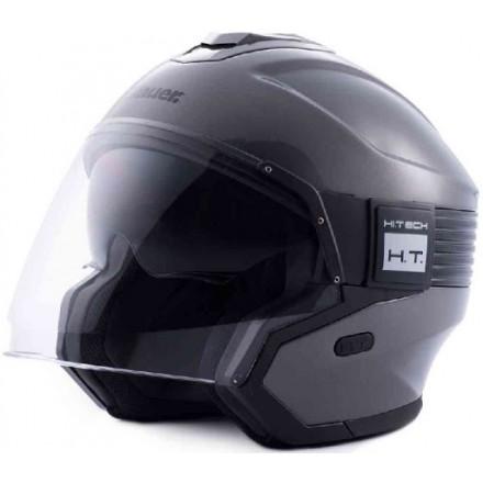 Blauer casco jet Hacker - Titanio lucido
