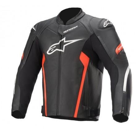 Alpinestars leather jacket Faster V2 - 1030 Black Red Fluo