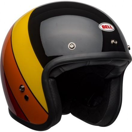 Bell Custom 500 DLX vintage jet helmet - Rif Gloss Black/Yellow/Orange/Red