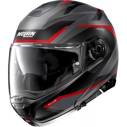 Nolan N100-5 Plus Overland N-Com flip up helmet - 32 Flat Red Lava Grey