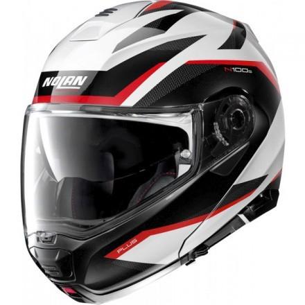 Nolan N100-5 Plus Overland N-Com flip up helmet - 34 Metal White
