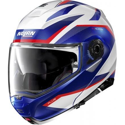 Nolan N100-5 Plus Overland N-Com flip up helmet - 35 Metal White