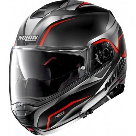 Nolan casco modulare N100-5 Balteus N-com - 42 Nero rosso opaco