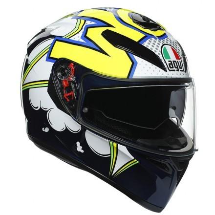 Agv casco integrale K-3 Sv Multi MPLK Bubble - Blu/Bianco/Giallo Fluo