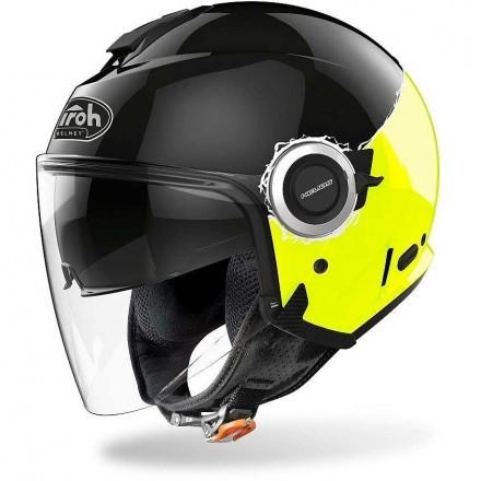 Airoh Helios Fluo casco jet - Yellow Gloss