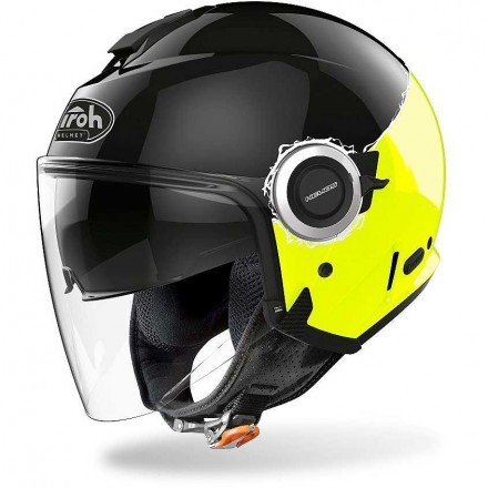 Airoh Helios Fluo jet helmet - Yellow Gloss