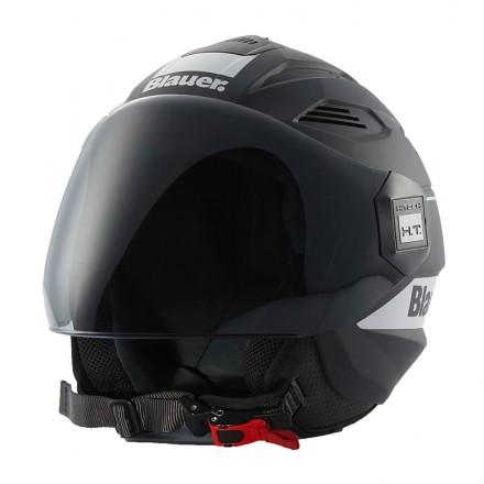 Blauer casco jet Brat - Nero Opaco Bianco
