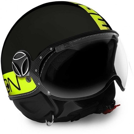 Momo design casco jet Fgtr Fluo - Nero Opaco / Giallo Fluo