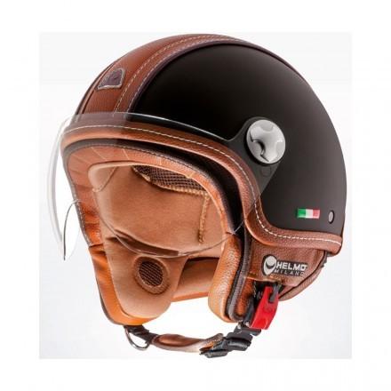 Helmo PelleDura jet helmet - Rubber Black/Brown