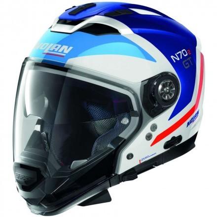 Nolan N70-2 Gt Glaring N-Com casco componibile - 50 Metal White